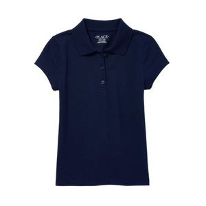 NWT Girls Dark Blue Short Sleeve Polo Shirt M 7/8